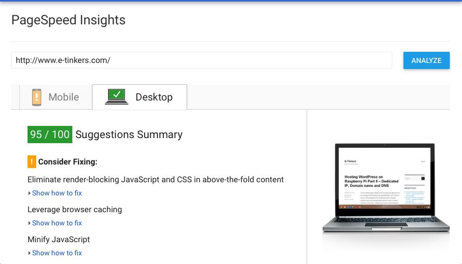 PageSpeed Desktop test result