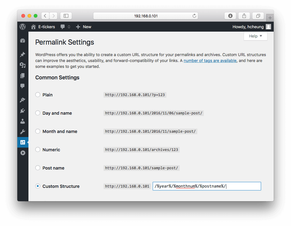 wordpress-permalinks-setting