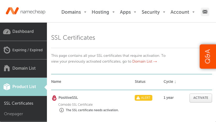 Activate SSL certificate on Namecheap Dashboard