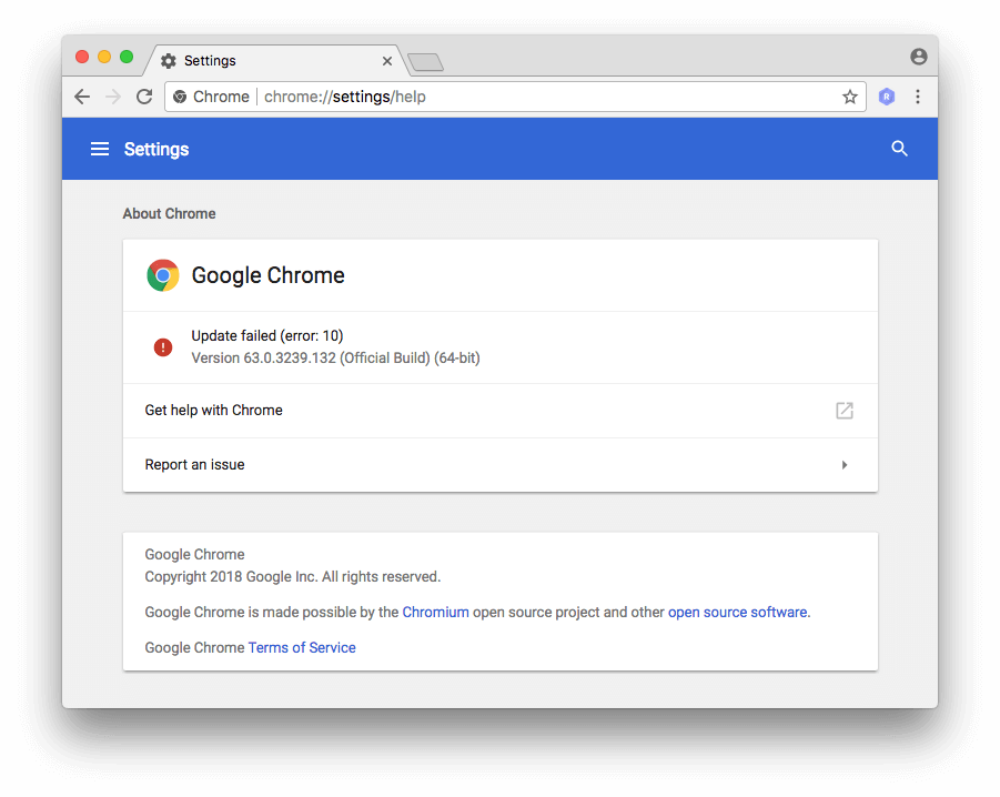 "Google Chrome shows ""Update Failed"" without Google Software Update running"