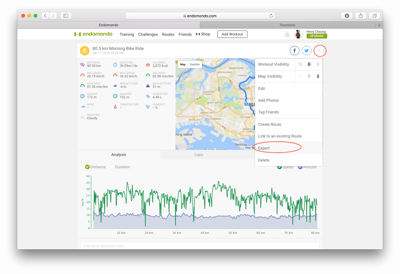 Export data from Endomondo
