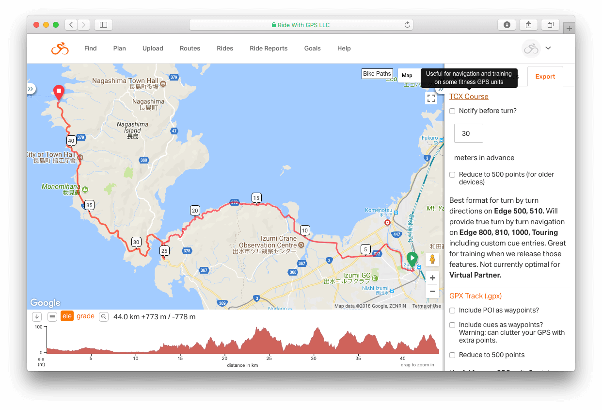 Export data from Ride with GPS