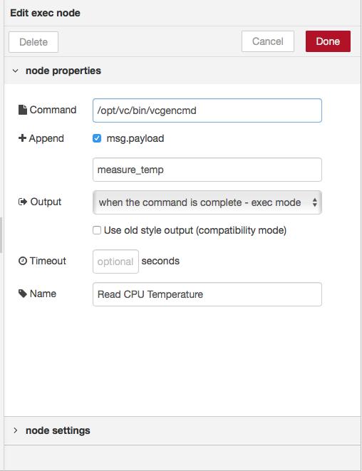 configure exec node
