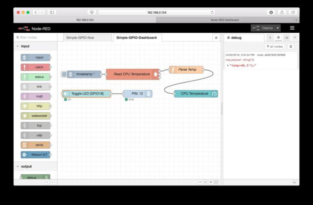 simple gpio dashboard node-red flow