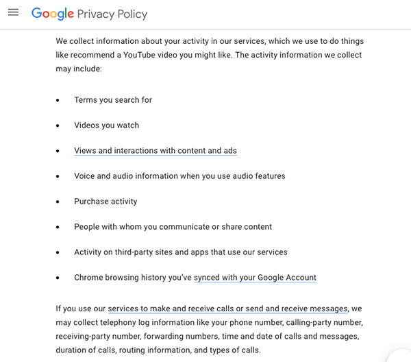 google privacy policy page