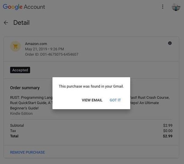 google read gmail to get purchase info