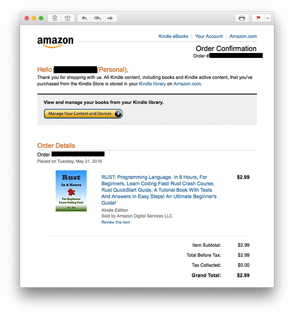 amazon purchase confirmation email