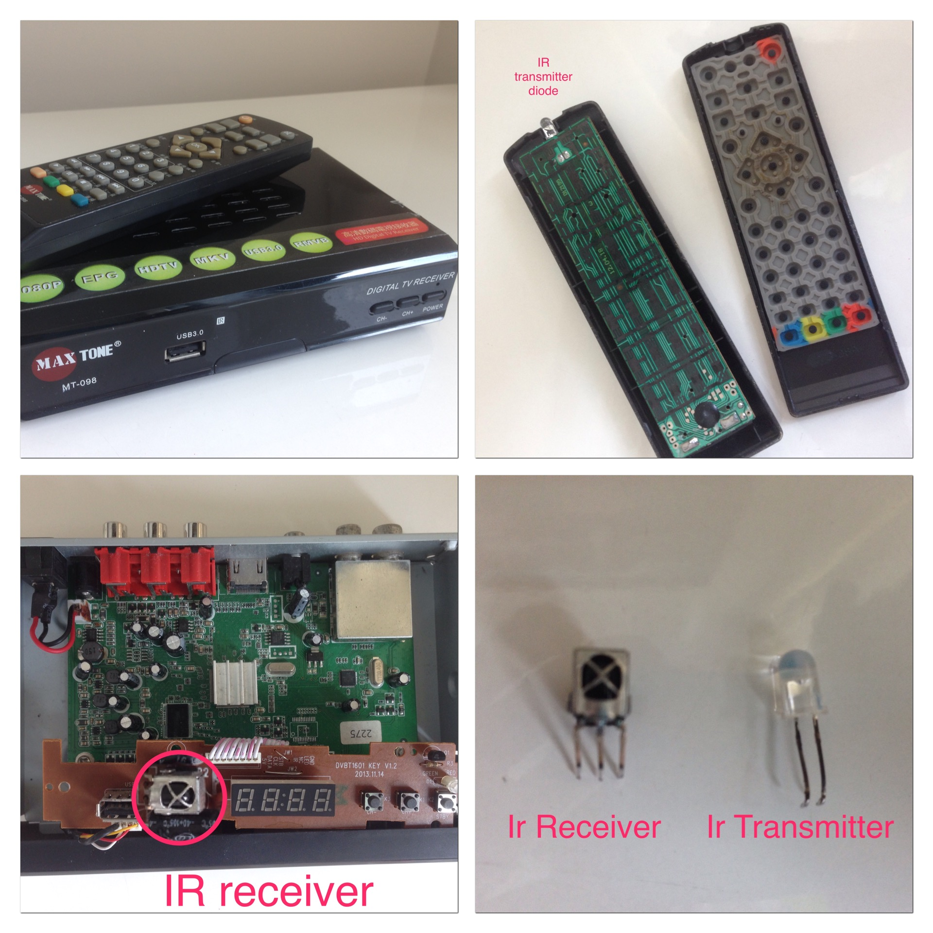 ir diode and receiver from old settop box