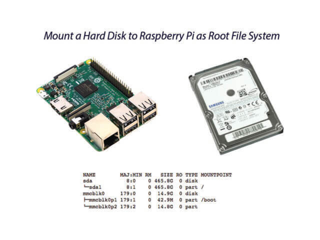 Mount a hard disk to raspberry pi as root file system