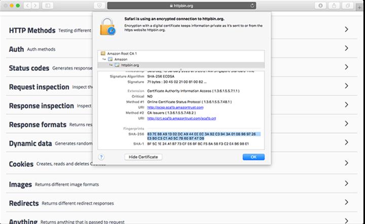 Finding SHA fingerprint on HTTPS web site