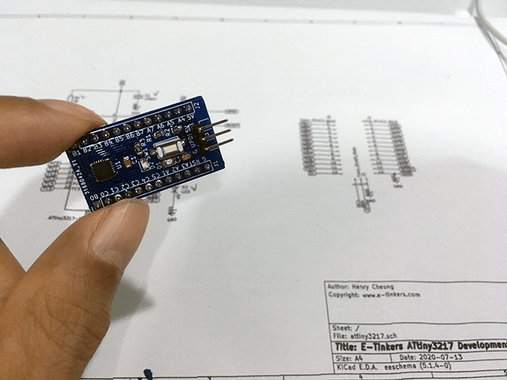 Final product - E-Tinkers ATtiny3217 Arduino Dev Board