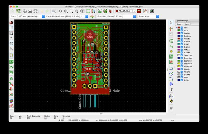 PCB design of ATtiny3217 on Kicad