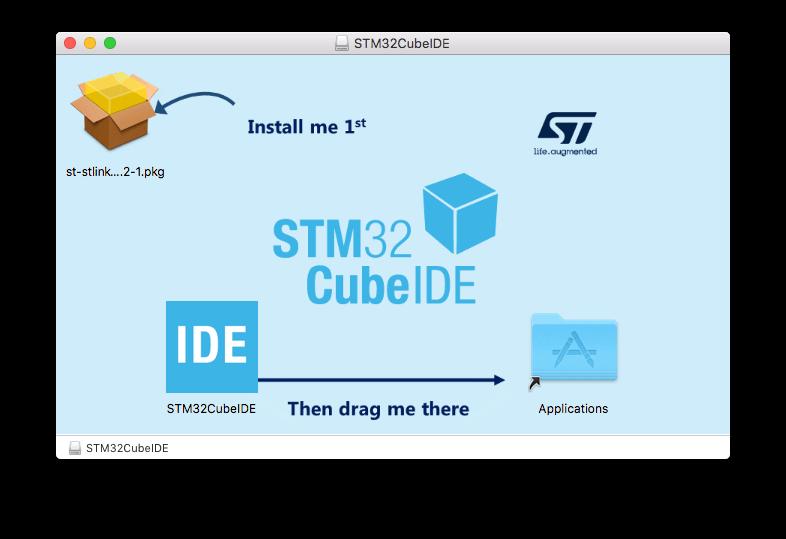 STM32CubeIDE disk image for MacOS installation