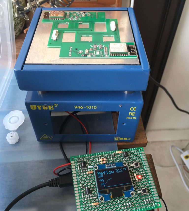 Trying out PCB reflow with the solder reflow hot-plate